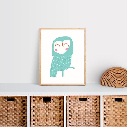 Owl Nursery Print - Mint