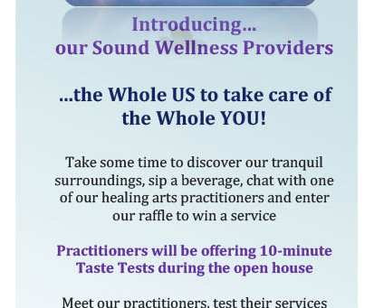 OPEN HOUSE AT SOUND WELLNESS, MONDAY MARCH 19, 5:30-7:30