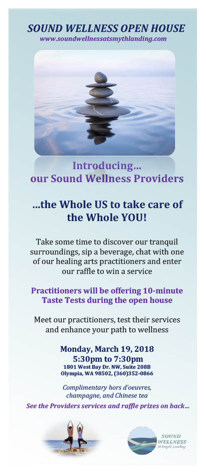 Introducing our Sound Wellness Providers...the Whole US to take care of the Whole YOU!  Take some time to discover our tranquil surroundings, sip a beverage, chat with one of our healing arts practitioners and enter our raffle to win a service.