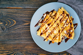 two-pancakes-with-chocolate-syrup-almond