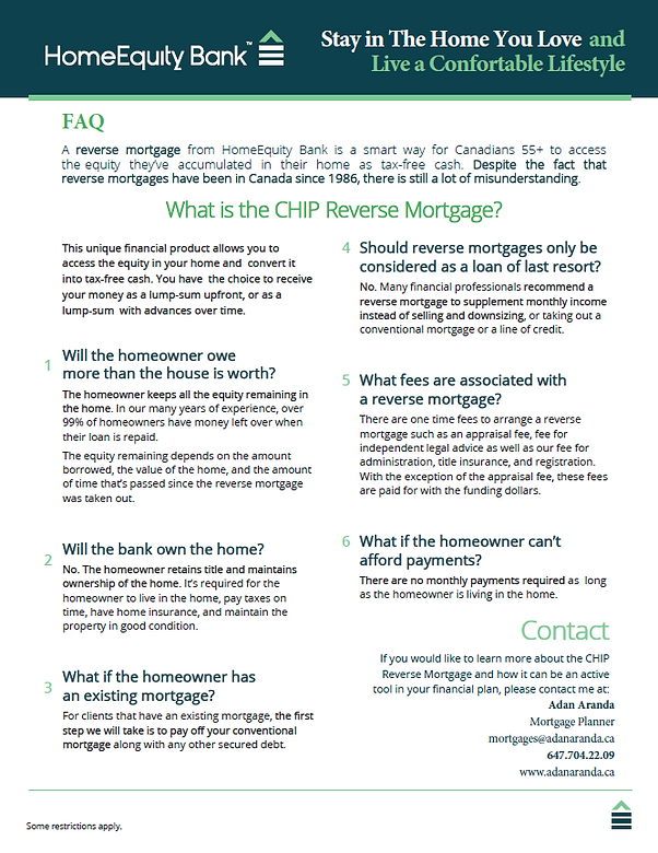 Reverse mortgage plans in Canada