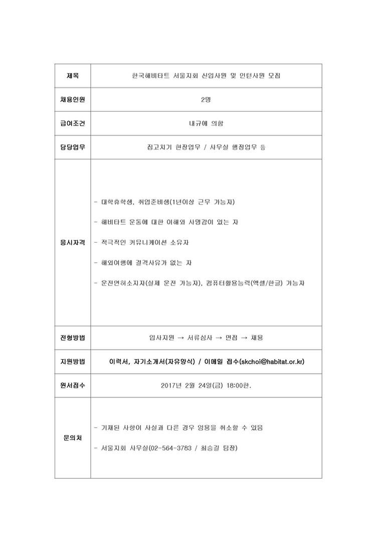 ~02.24(금) 한국해비타트 서울지회 신입사원 및 인턴사원 모집