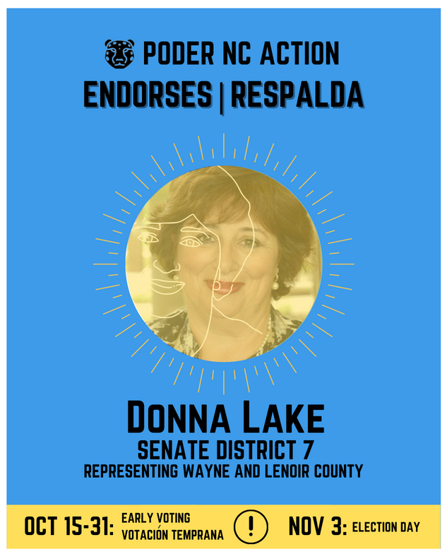 Donna Lake | Senate District 7 | North Carolina | Representing Wayne and Lenoir County