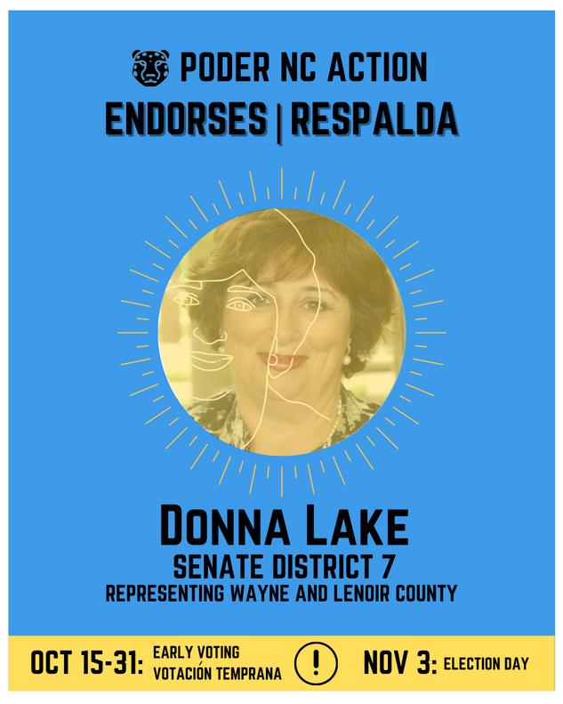 Donna Lake | Senate District 7 | North Carolina | Representing Wayne and Lenoir County
