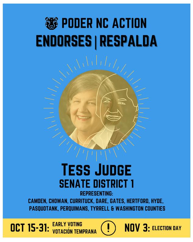 Tess Judge | Senate District 1 | North Carolina | Representing Camden, Chowan, Currituck, Dare, Gates, Hertford, Hyde, Pasquotank, Perquimans, Tyrrell & Washington Counties