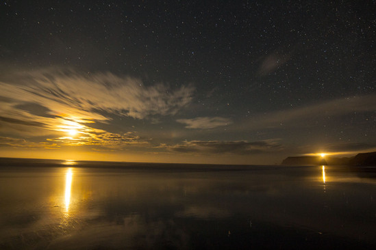 Cape Blanco and the moonset