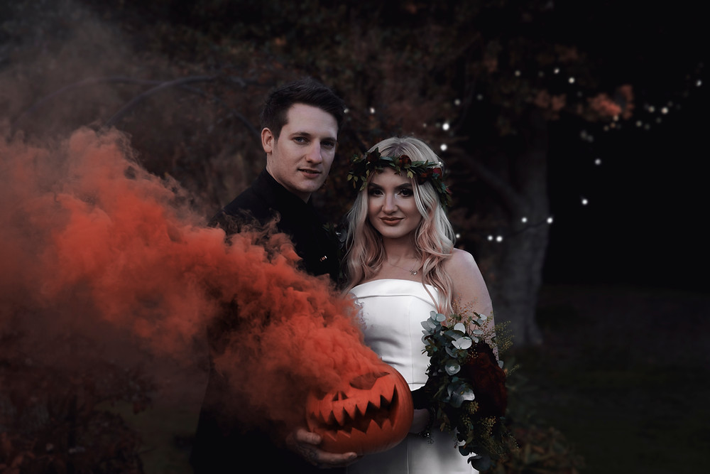 Bride and Groom from their Halloween themed wedding at The Old Rectory in Sheffield