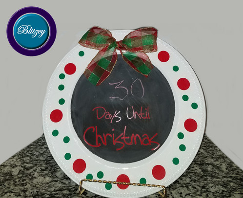 days until christmas white charger plates with beaded rims 13 - Christmas Charger Plates