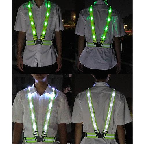 Outdoor Sport Safety Running LED Lights , USB Charge Lamp Straps Reflective Vest
