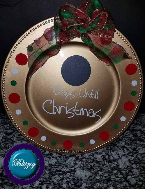 days until christmas with bow comes with charger plate as shown inclides chalk stick 1 and sponge eraser