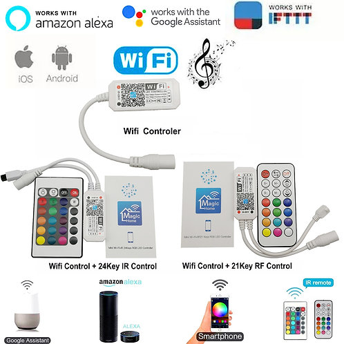Magic Home Bluetooth Wifi RGB RGBW LED Strip IR Remote Alexa, Google Voice
