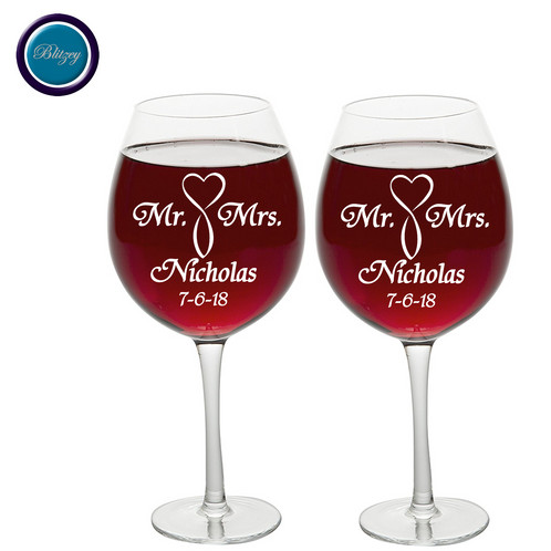 This Custom Engraved Wine Glass Can Be Customized With Your Salutation Name And Date Same On Both Glasses Only A Great Gift For All Of Your Guests Or