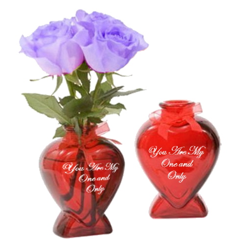 You are my one and only Heart GLASS Bud Vase