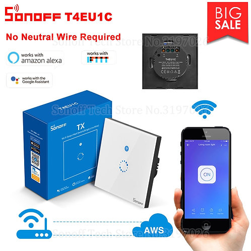 Sonoff Wall Wifi Smart Touch Switch No Neutral Wire for Alexa Google Home