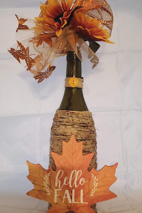 Wine Bottle Fall Deco