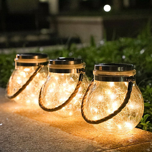 Solar Copper Wire Lamp Crack Ball Glass Jar Outdoor Deco LED String