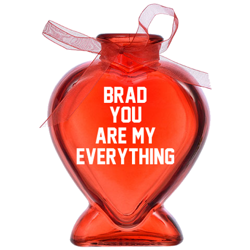 Your Name (In place of Brad) Heart GLASS Bud Vase