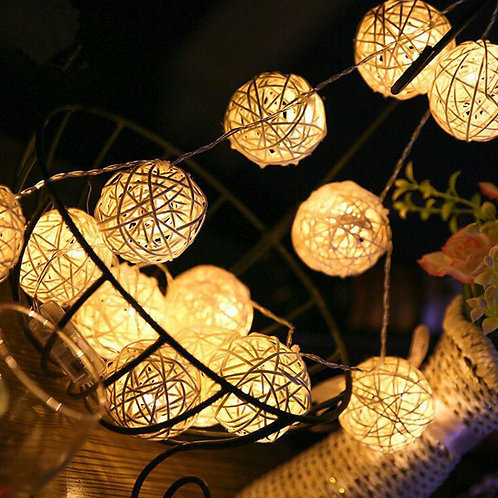 2.5M 5M 40 LED String Lights Rattan Ball Deco LED String Light for Outdoor