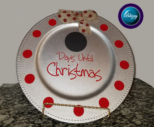 days until christmas silver charger plates with beaded rim - Christmas Charger Plates