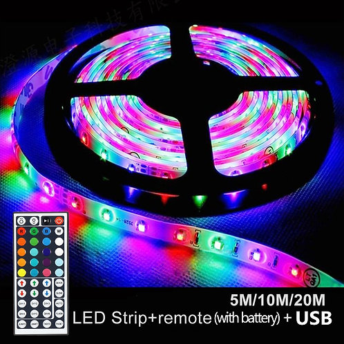 5/10/20m LED Strip Light for Home Flexible RGB Tape W/Battery Controller/USB