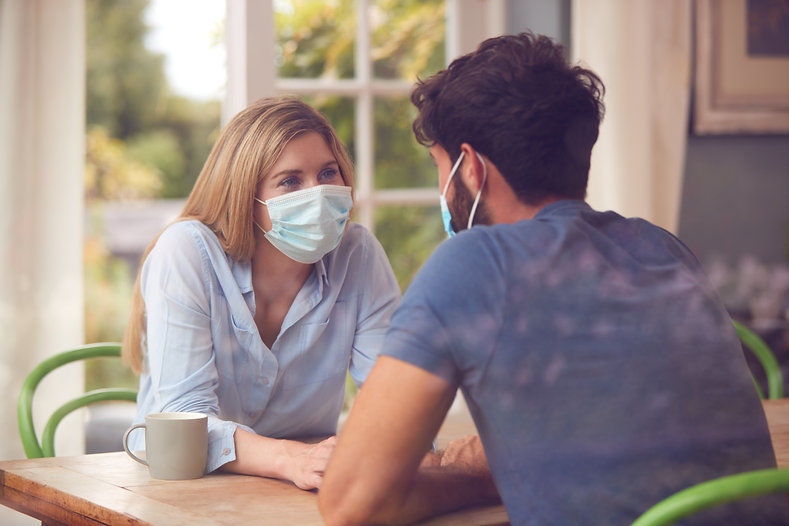 Couple Wearing Masks Meeting In Coffee S