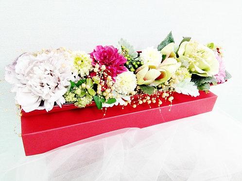 アーティフィシャルフラワー BOXアレンジ(大)_レッド
