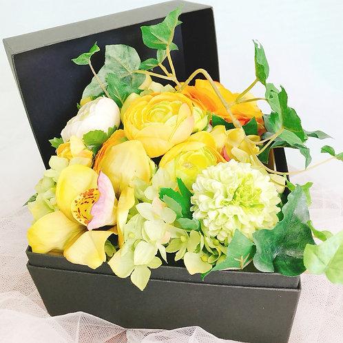 アーティフィシャルフラワー BOXアレンジ(小)_イエロー