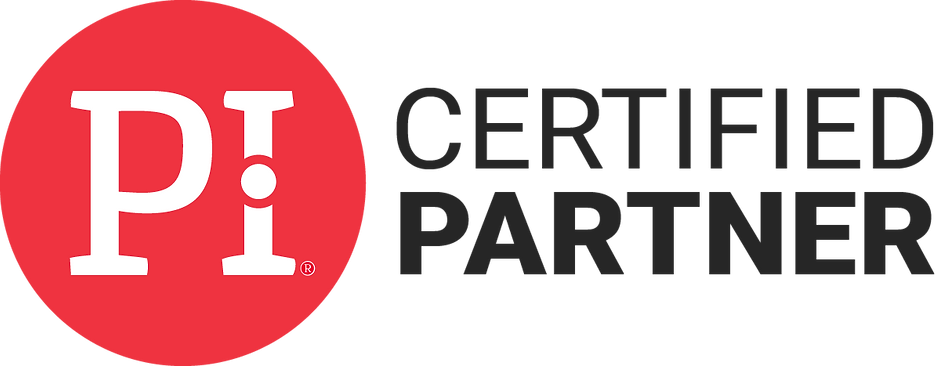 PI Certified Partner Badge red and white logo with black text