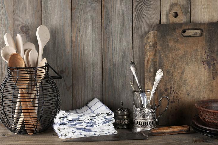 Vintage rustic kitchen still life: silve
