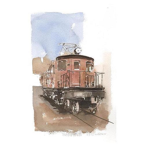 機関車3点--A set of three watercolor