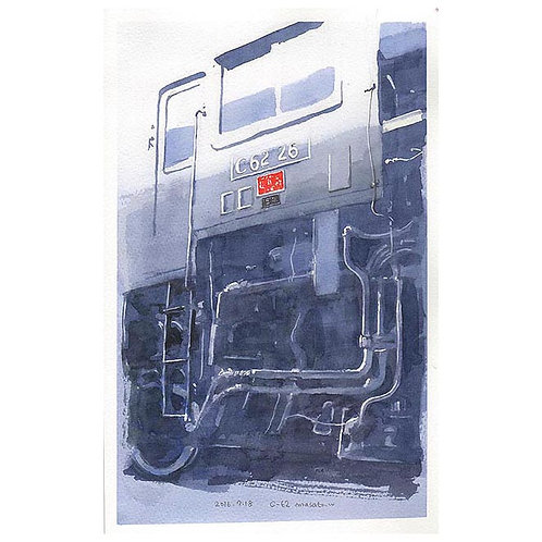 SLとタンク車--A set of three watercolor