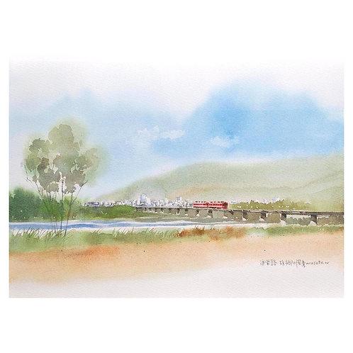 702-故郷風景の風景/川沿いの道