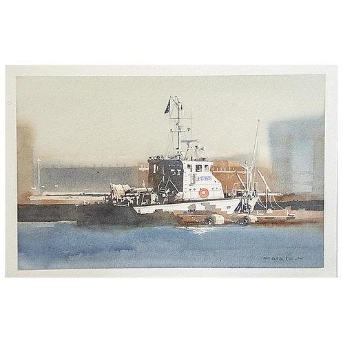 ボート3点--A set of three watercolor