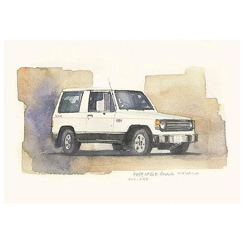 車2台--A set of two watercolor