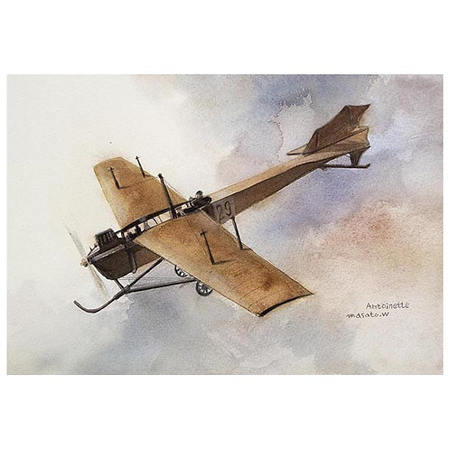 飛行機3点--A set of three watercolor