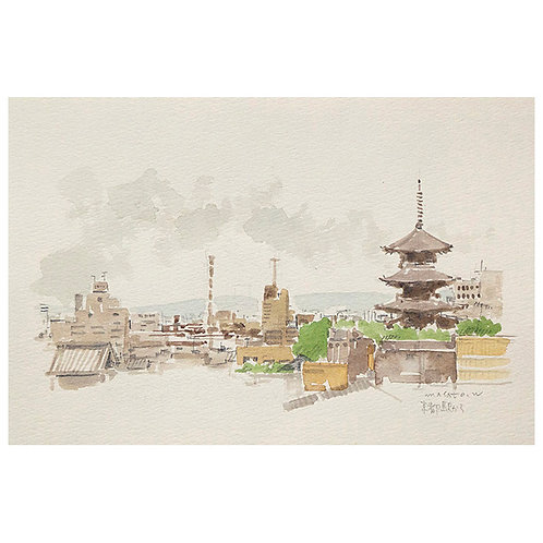 京都スケッチ3点-A set of three watercolor