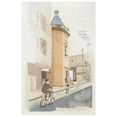 京都三条3景--A set of three watercolor