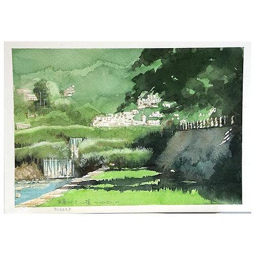 兵庫芦屋川3景--A set of three watercolor