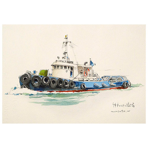 港スケッチ3点-A set of three watercolor