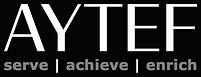 AYTEF Logo w Tag - WHT GRY - BLK Backgro