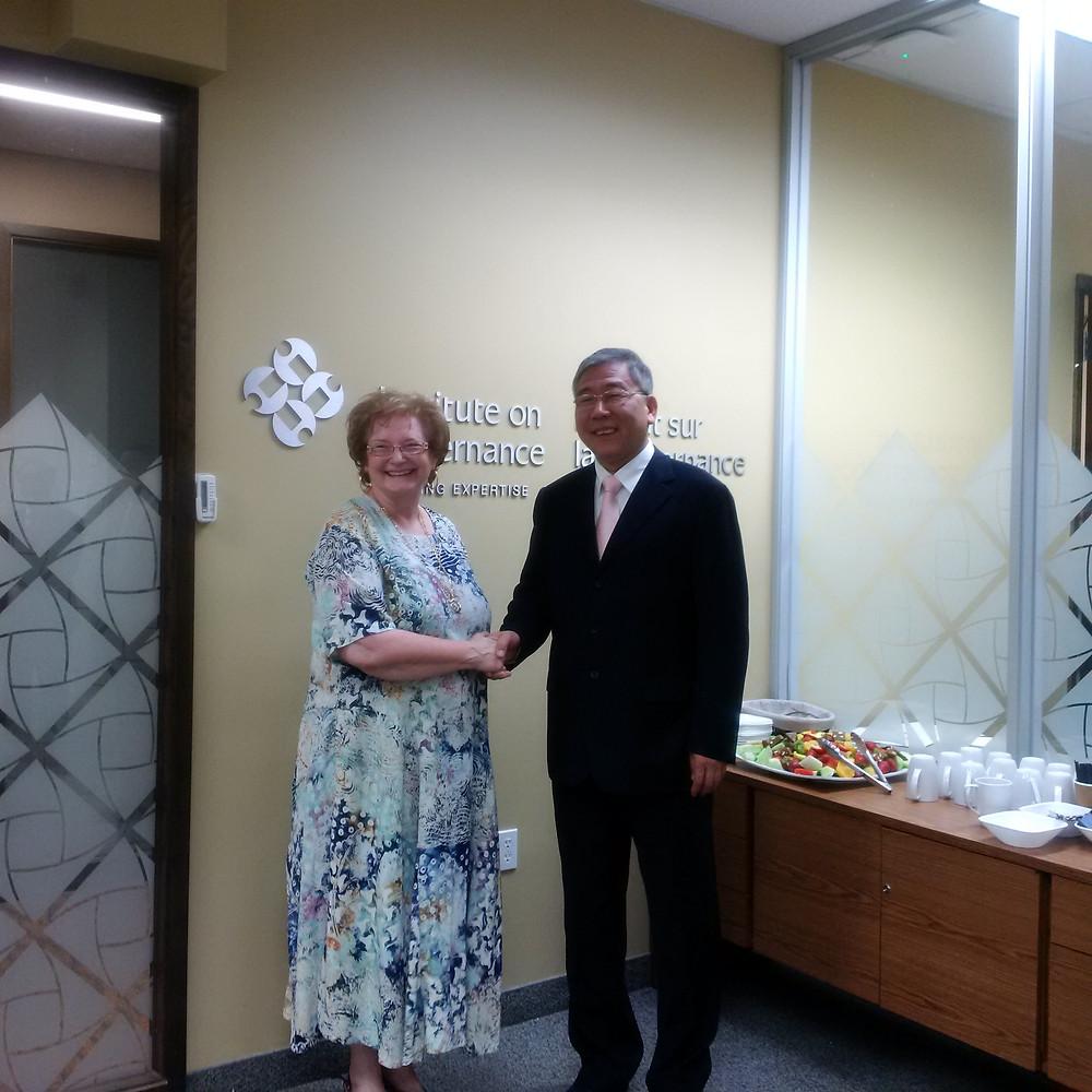 IOG President Maryantonett Flumian and CAG Vice President Yang in Ottawa