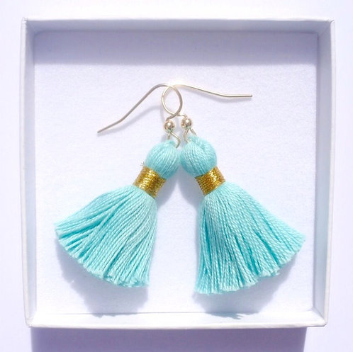 14K Gold-Filled Tassel Earrings | Turquoise