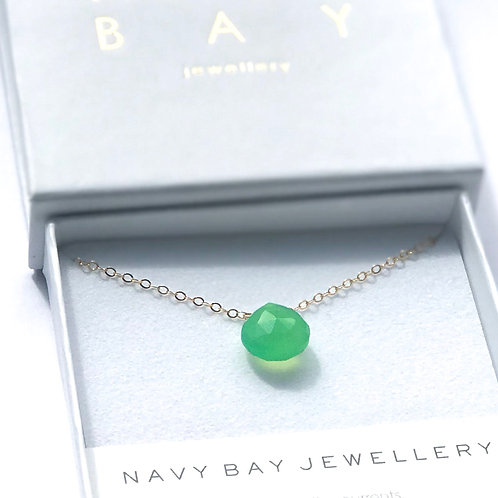 Apple Green Chalcedony + 14K Gold-Filled Salcombe Necklace