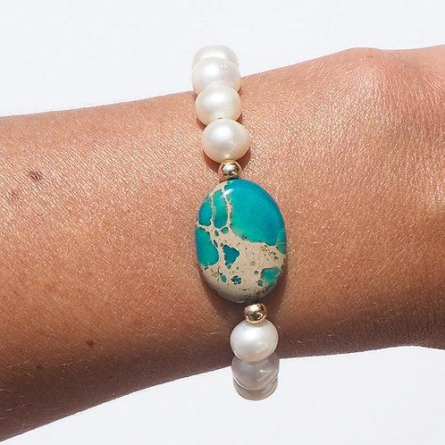 The Janey Bracelet | Freshwarer Pearl, Turquoise + 14K Gold-Filled