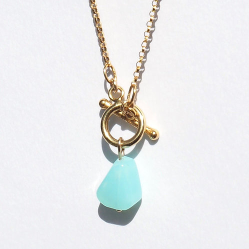 Ring of Bright Water Necklace   14K Gold-Filled + Sky Blue Peruvian Opal