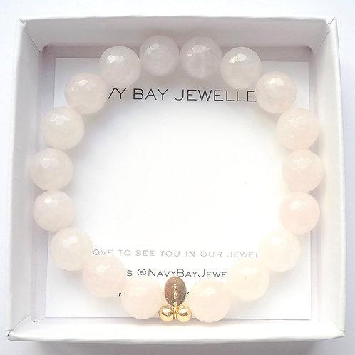 The Emmy Bracelet | Rose Quartz + 14k Gold-Filled