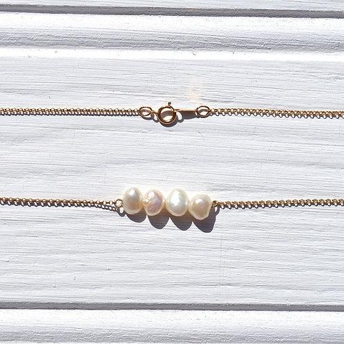 Freshwater Pearl Gold Chain Sandbar Necklace