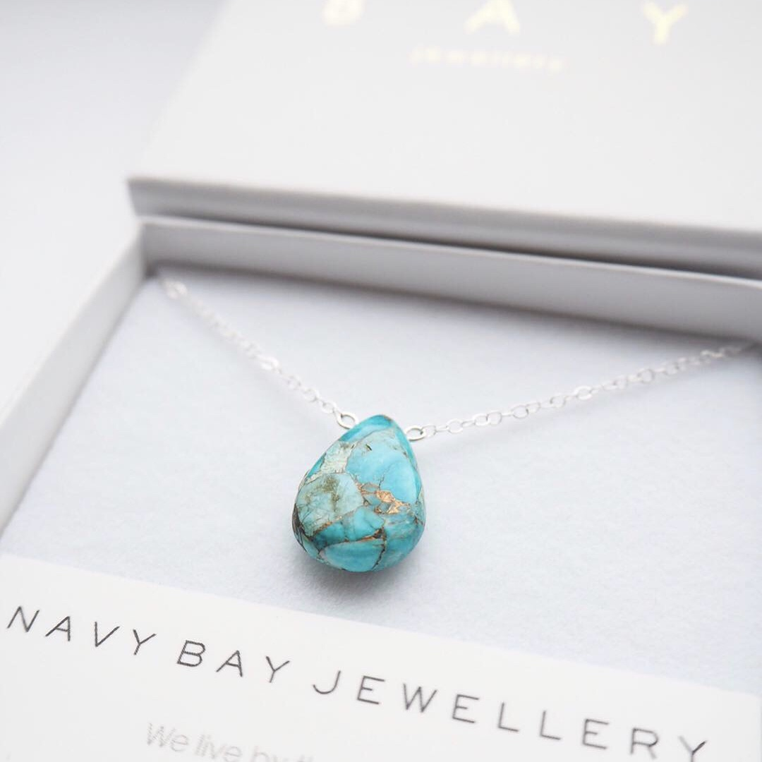 Marbled Turquoise Salcombe Necklace