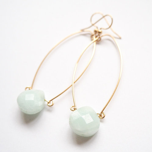 14k Gold-Filled Earrings with Mint Amazonite