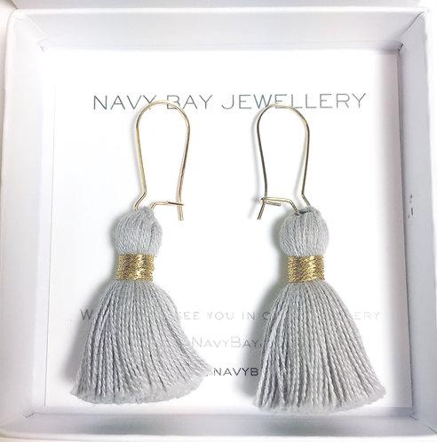 14K Gold-Filled Tassel Earrings | Soft Grey